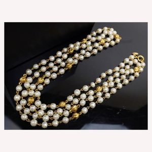 Chanel Gold Pearl Double Chain Necklace 235500
